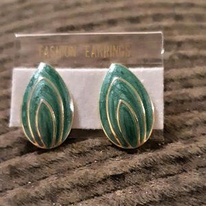 Green with Gold plated Tear Drop Stud earrings